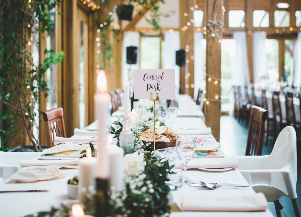 The tables for the wedding meal. Cheshire wedding photography.