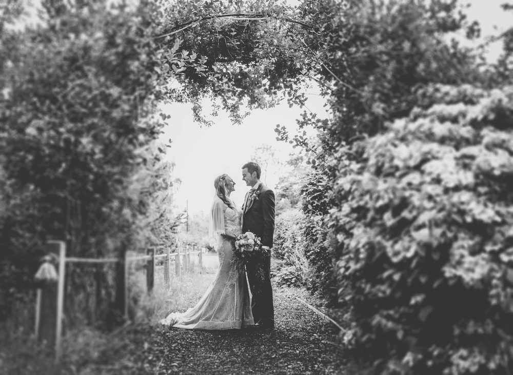 The beautiful bride and groom in black and white. -Wedding photographer Cheshire