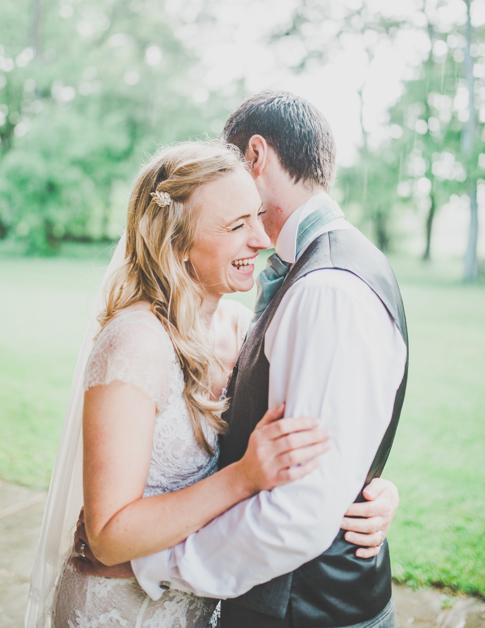 Laughing bride and groom potrait -Wedding photography at The Oak Tree of Peover.