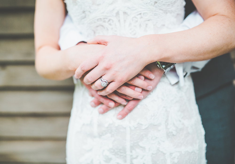 The hands of the bride and groom. -Ccreative cheshire wedding photogrpher.