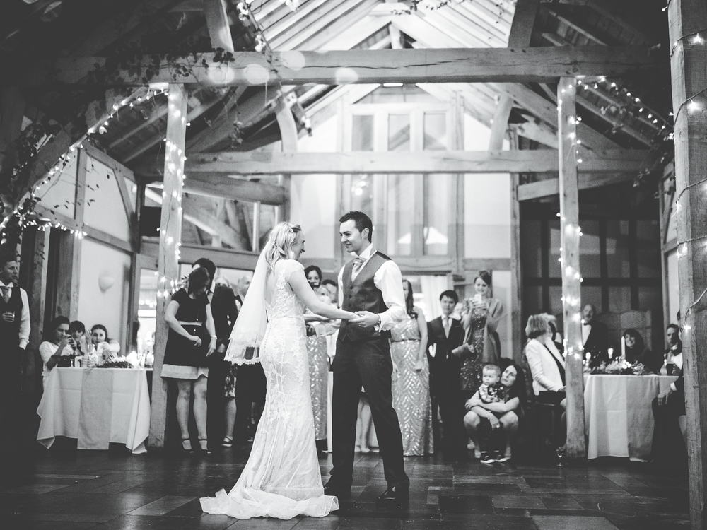 Black and white photo of the first dance.