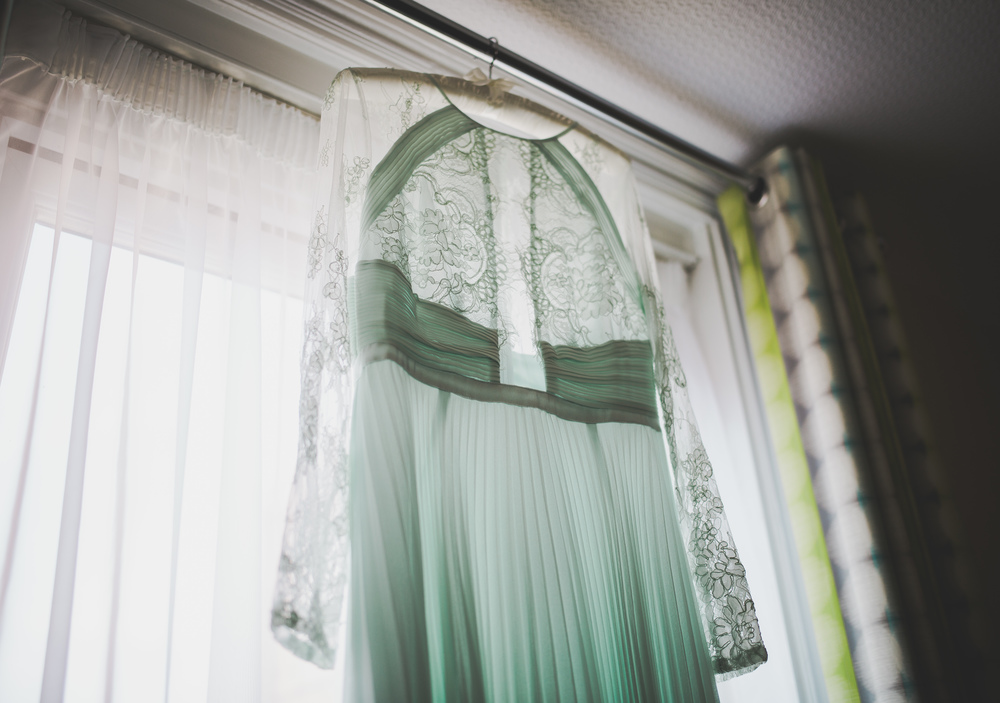 The brides gown hung up before the Stockport Wedding.