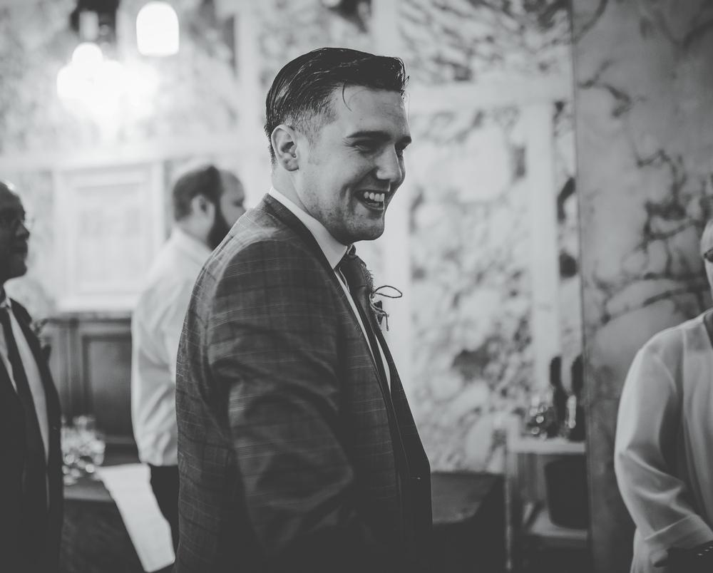 groom inside Stockport Town Hall