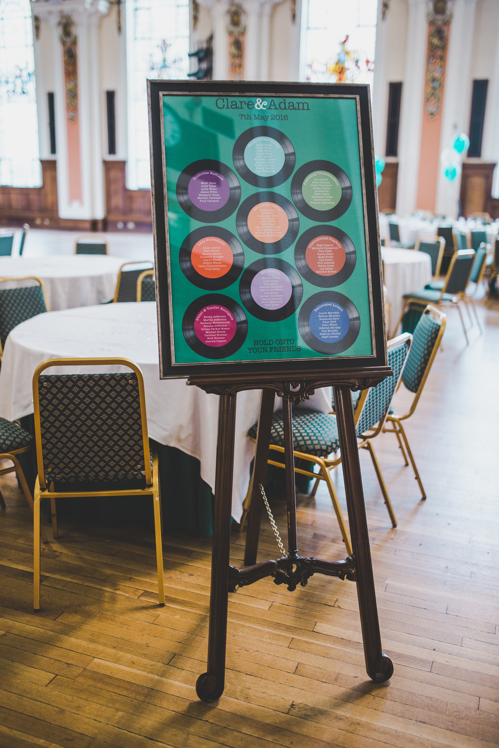The wedding seating chart at Stockport Town Hall Wedding