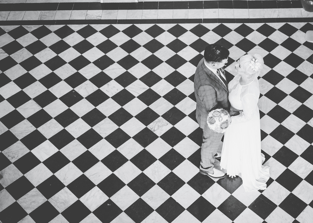 Bride and groom portraits in Stockport Town Hall - Wedding Photography in the North West