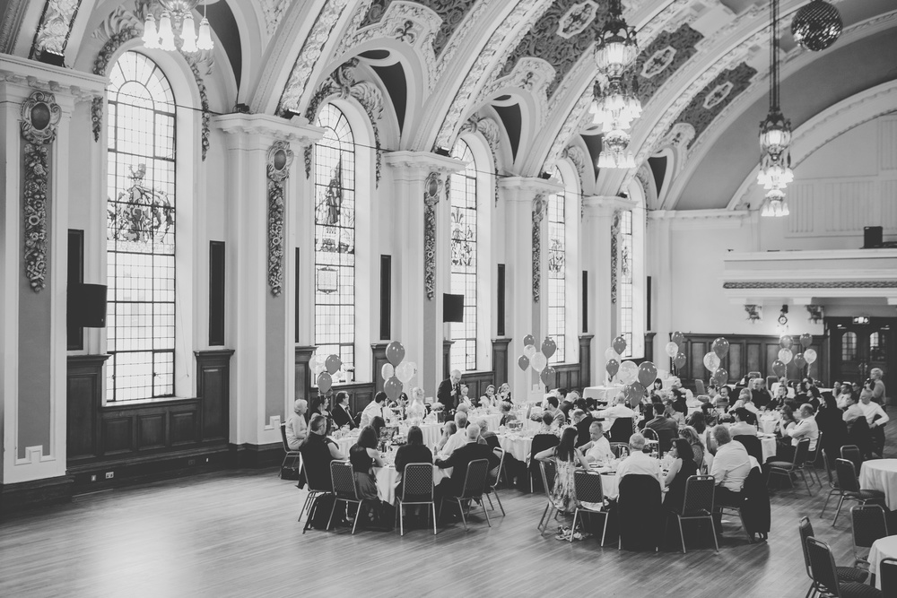 The wedding reception room at Stockport town hall - north west wedding photographer.