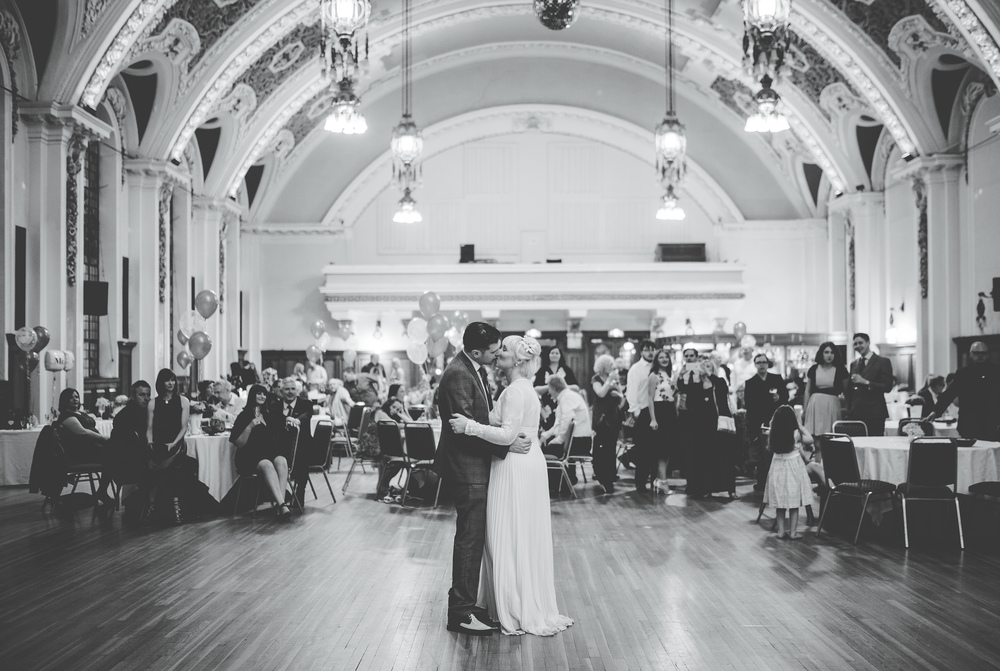 Bride and groom - first dance at STockport Town Hall. Wedding Photography in Manchester
