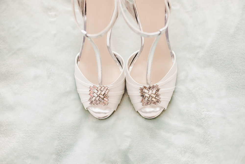 The shoe of choice for the bride. Gorton Monastery Wedding