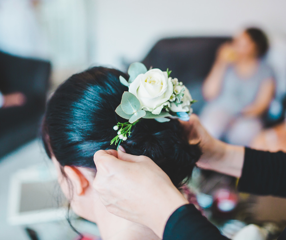Bridesmaid getting her hair done- Manchester wedding.