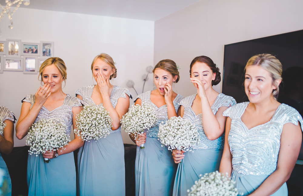 All the bridesmaids lined up. Manchester photographer.