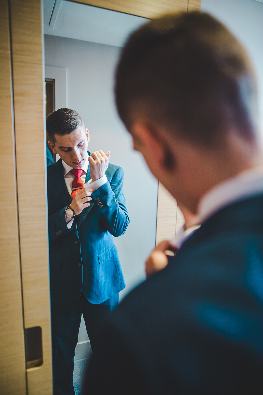 The groom getting ready for his Manchester wedding.