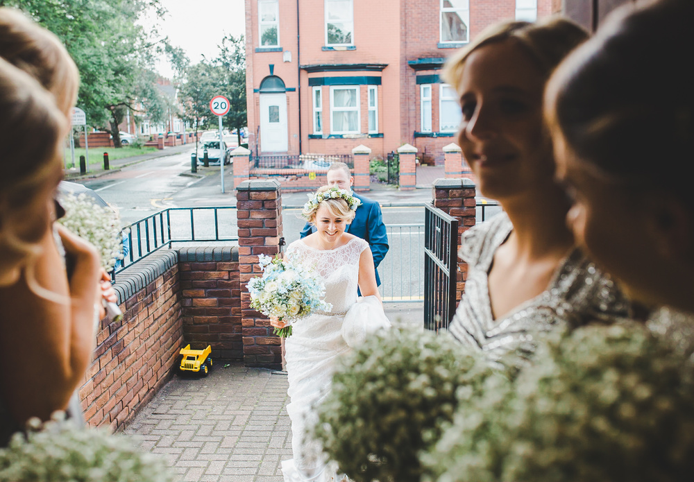The bride arriving at The Gorton Monastery in Manchester.