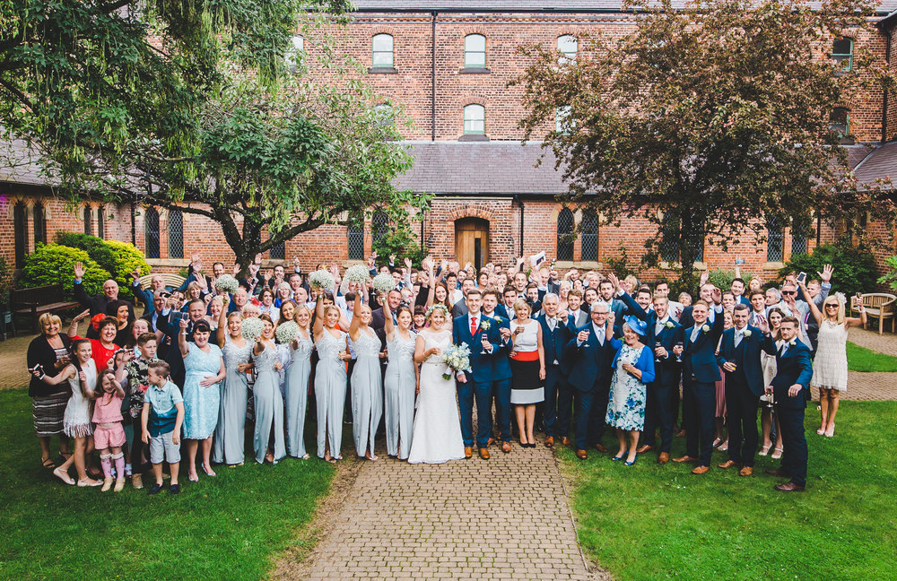 Th bride, bridesmaids, goom, groomsmen and wedding guests. Manchester photographer.