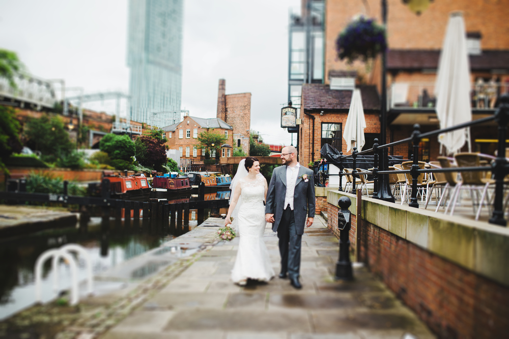 In the streets of Manchester for the bride and groom.
