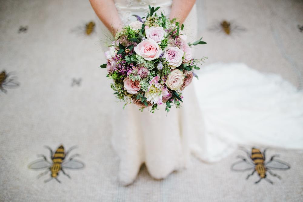 The brides beautiful flower bouquet.
