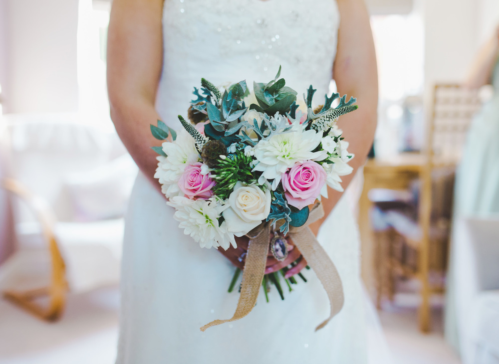 The brides flower bouquet. Relaxed and mordern Lancashire wedding