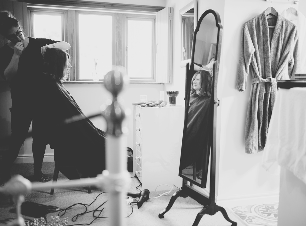 Documentary black and white photograph bride getting ready- Lancashire photographer