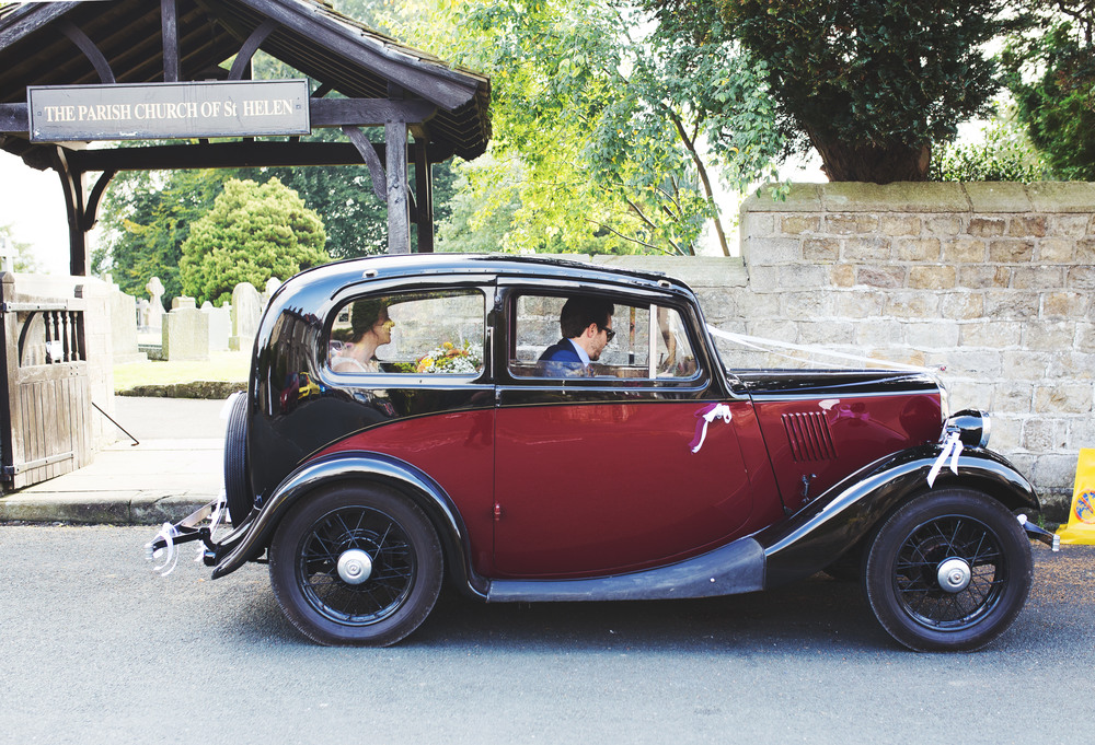 Rustic wedding car for th Relaxed Lancashire wedding.