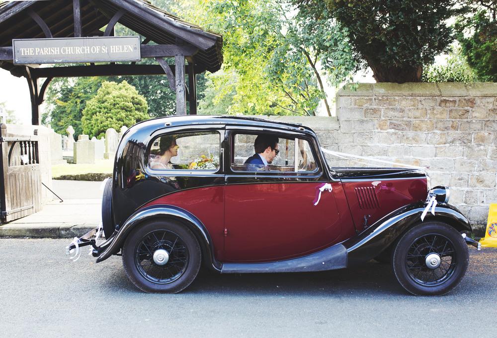 Rustic wedding car for th Relaxed Lancashire wedding.