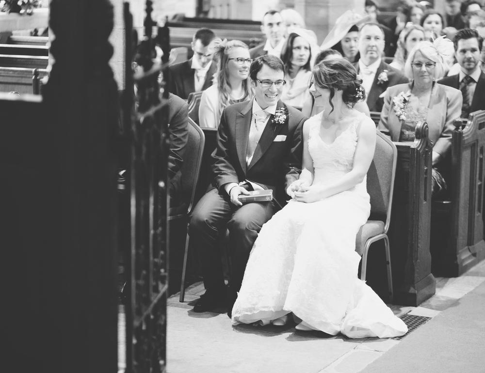 Black and white and photograph of bride and groom- Lancashire wedding photographer.