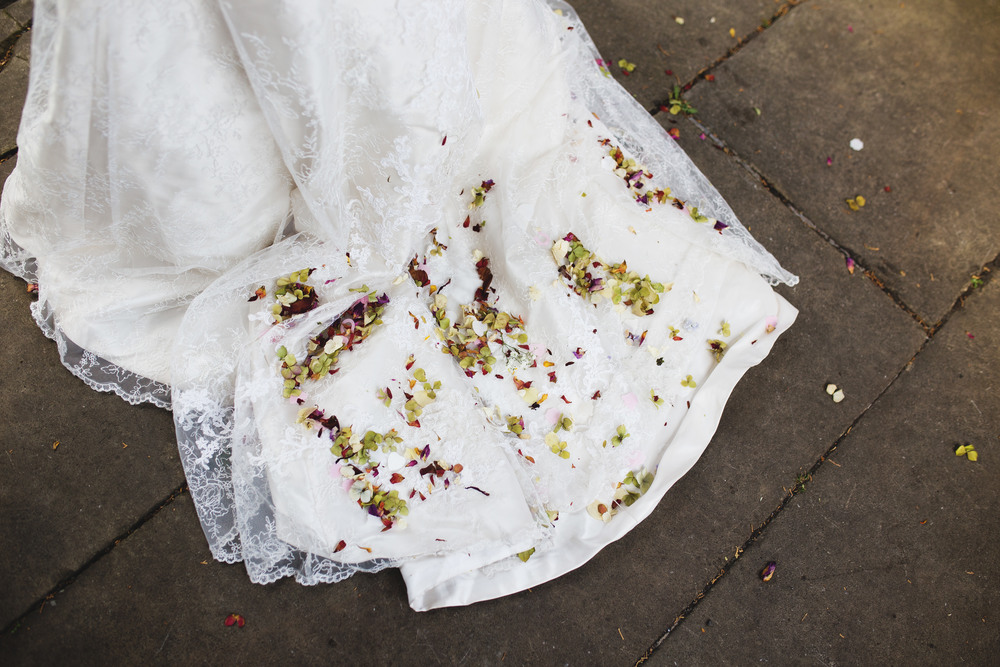 Confetti on the bridal gown, Ribble Valley wedding