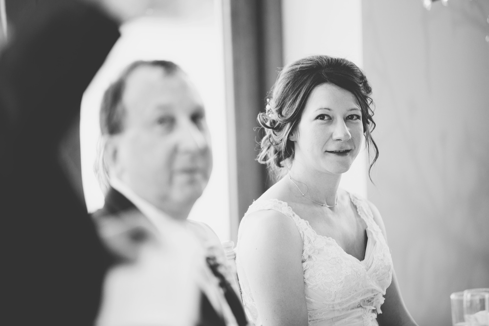 Black and white photograph of brid and her farther- Documentary lancashire wedding