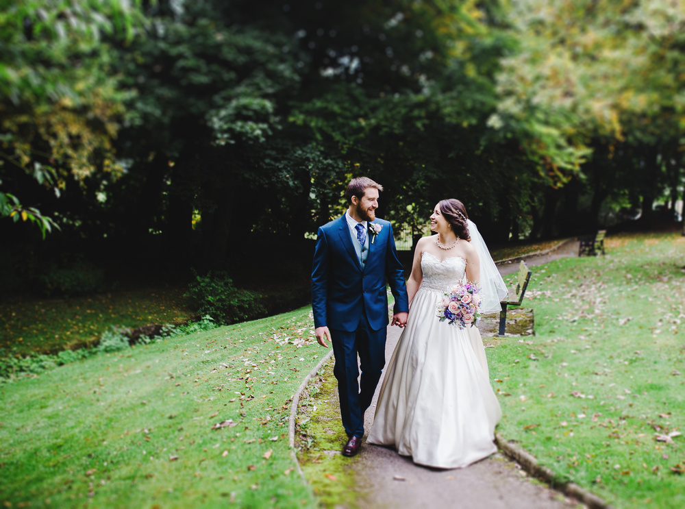 A walk through the woodland area for bride and groom- Wedding photographer in lancashire