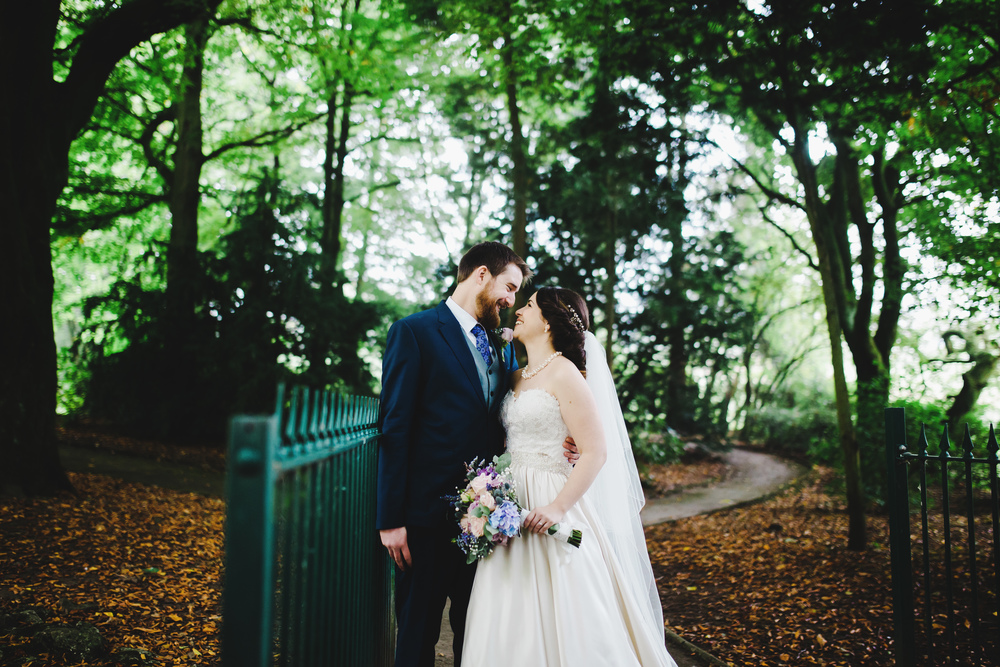 The bride and groom within the forest- Lancashire wedding photographer