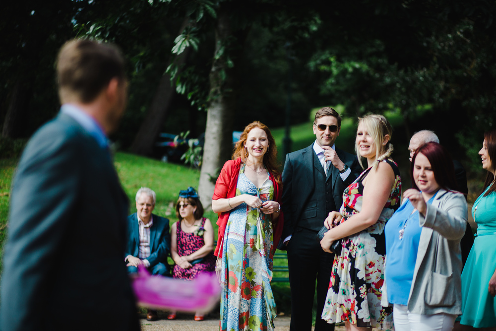 Smiling wedding guests for the outdoor wedding- Relaxed modern wedding