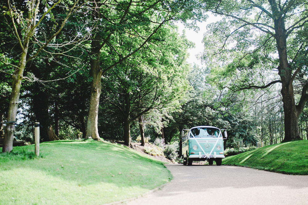 The mode of transport is a camper van- Outdoor wedding at Avenham Park