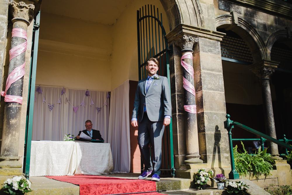 The groom waiting outside at Avenham Park