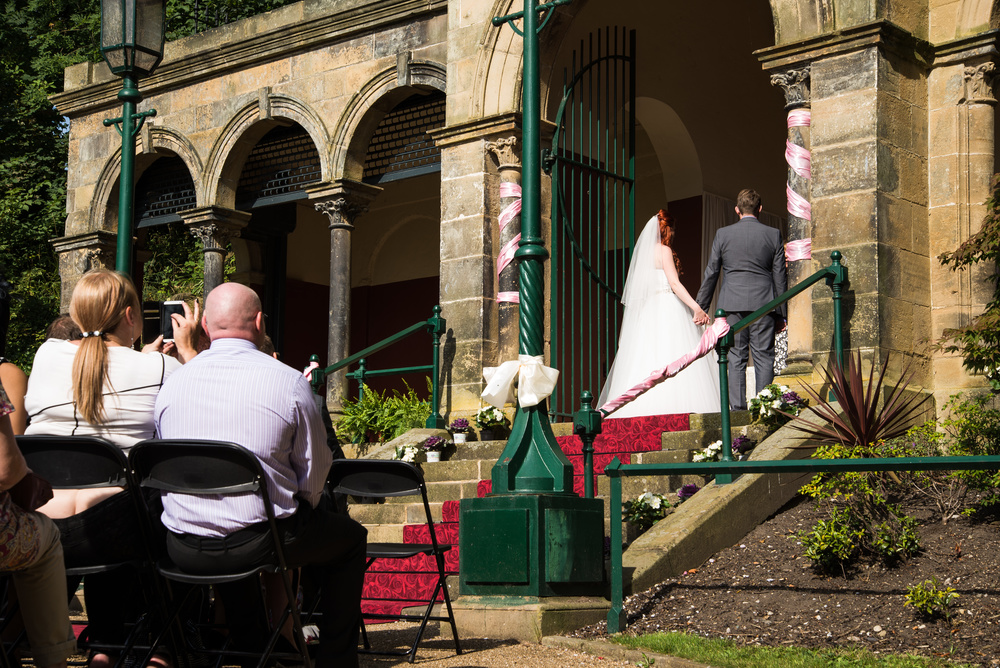 Wide shot of the bride and groom saying their i do's- Preston photographer