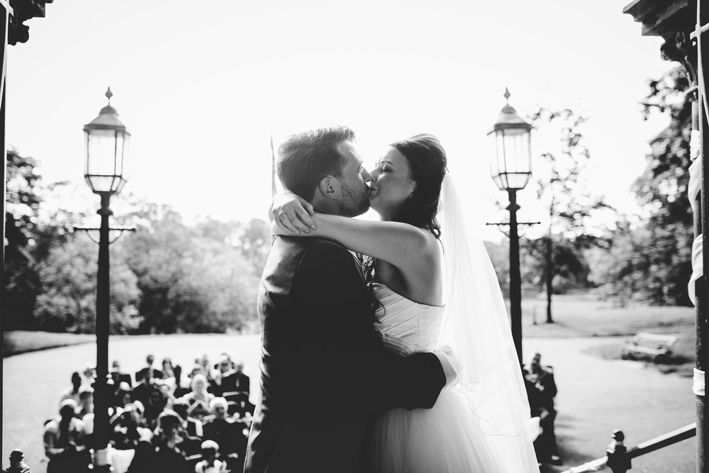 The first kiss as Mr and Mrs- Documentary photographer in Lancashire