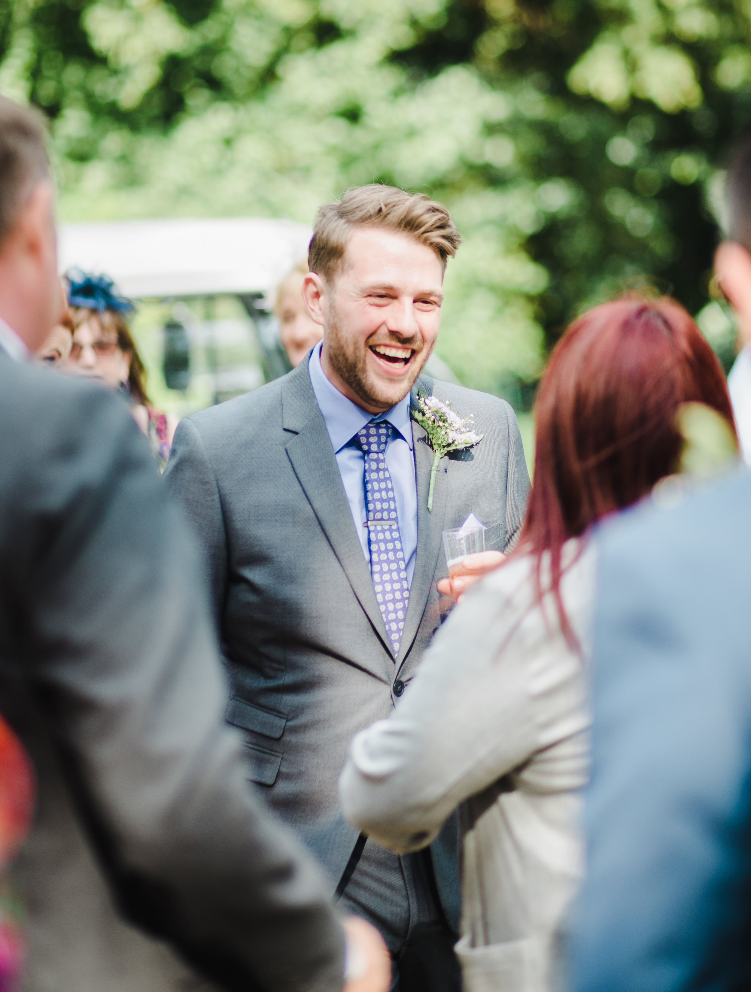 smiling groom - outdoor wedding preston