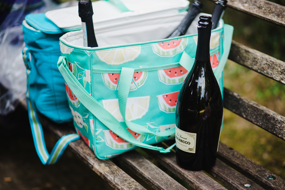 Ice bag filled with champagne- wedding photographer in lancashire