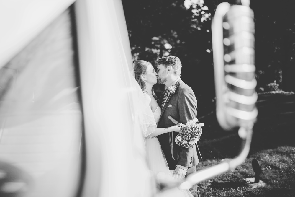 Creative photograph of the bride and groom- Black and white wedding photograph