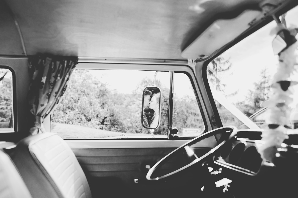 Black and white photograph of the inside of the camper van- Preston wedding photographer