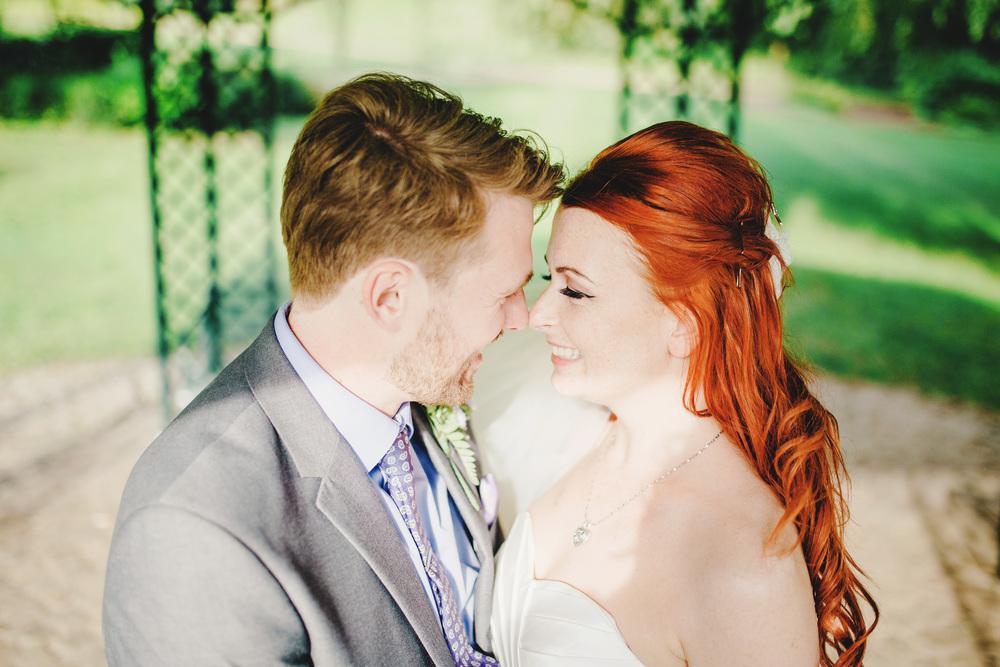 A close up of the bride and groom- Outdoor wedding and Avenham Park Preston