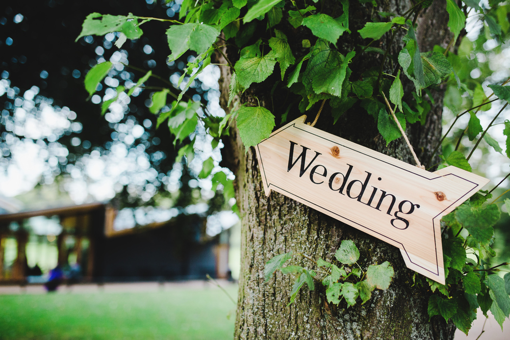 A wedding arrow in the tree of the outdoor wedding