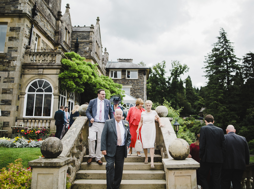 The arrival of wedding guests at the lake district- Documentary photographer