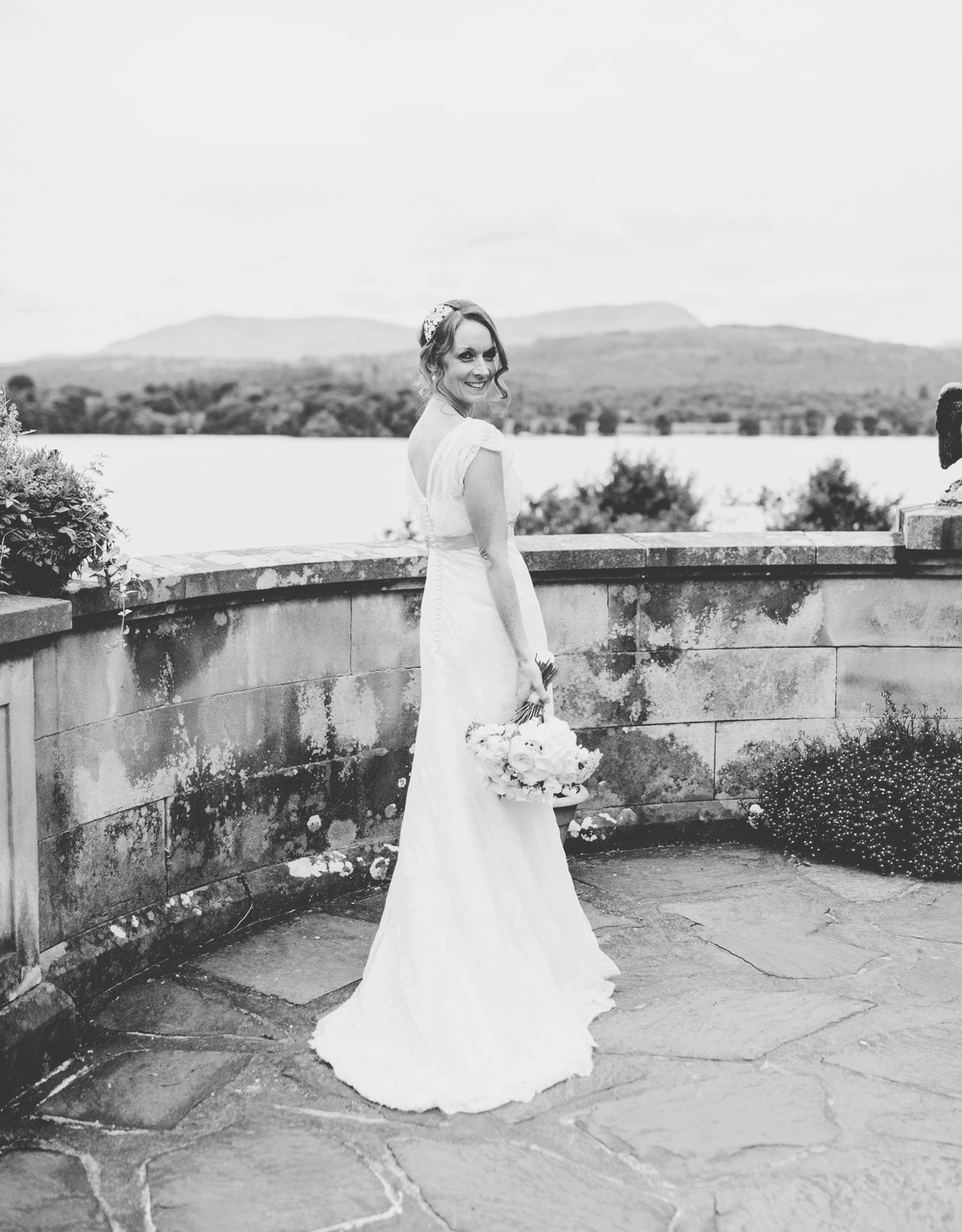 Black and white portrait of the beautiful bride- Langdale Chase wedding venue
