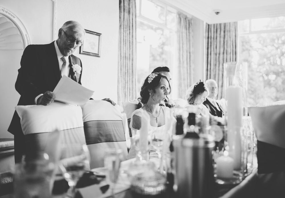Black and white photograph of the wedding speech- documentary wedding photographer