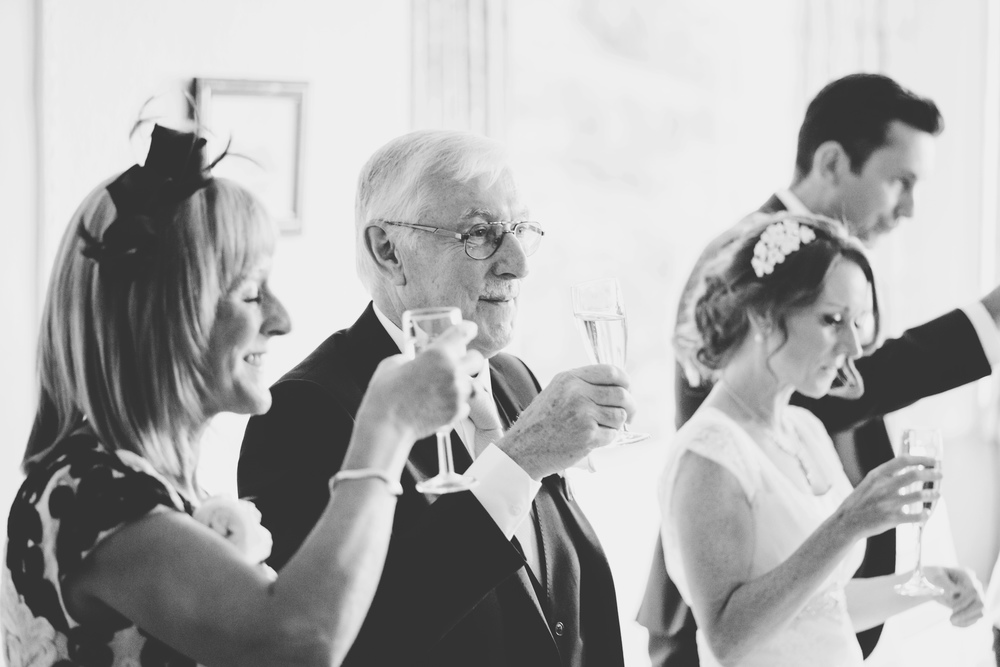 Here's to the happy couple, wedding guests rating a glass- Lake district photographer