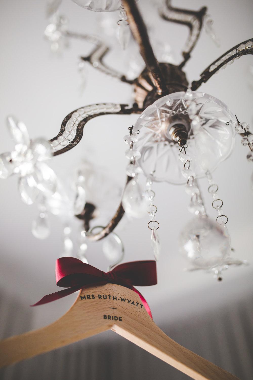 The handmade name on the hanger- Lancashire wedding photographer