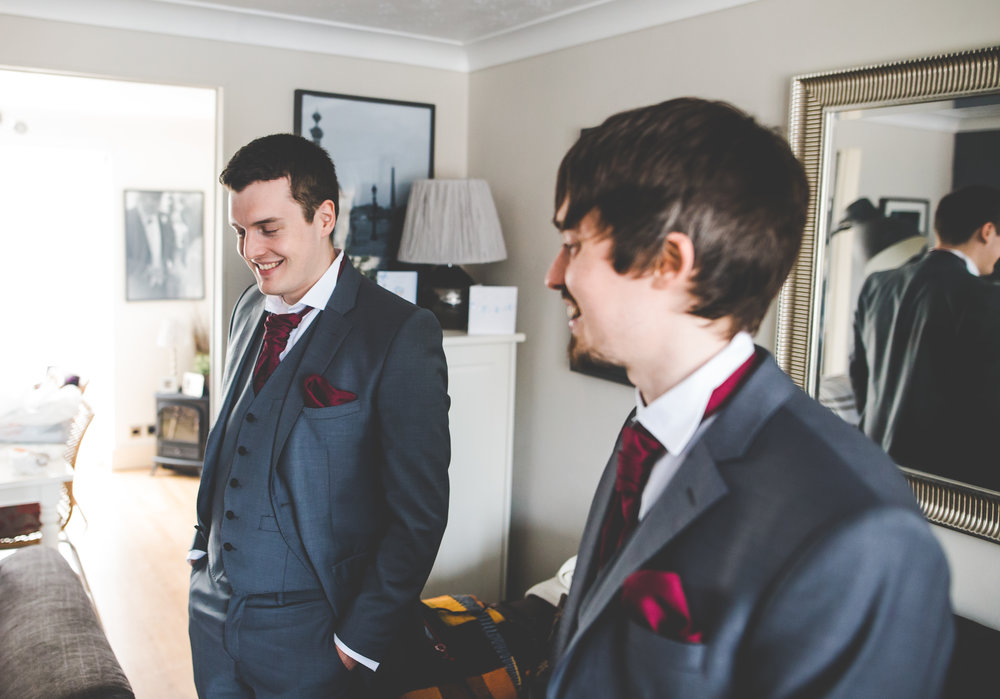 The groom and groomsmen before the wedding- Relaxed wedding at Stirk House
