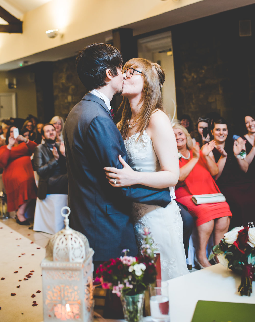 The first kiss for the newly weds- Lancashire wedding photography