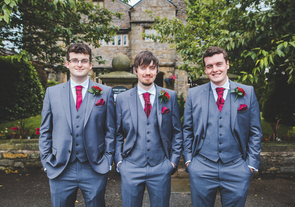 The groom and groomsmen outside of Stirk House Hotel for his vintage themed wedding- Lancashire wedding photography