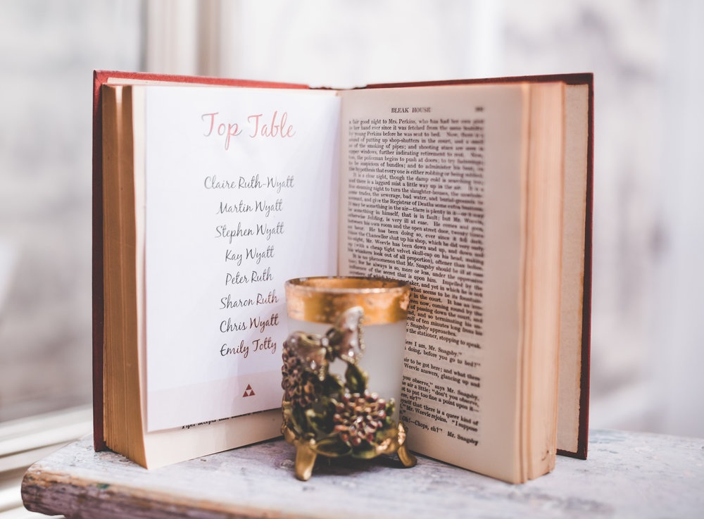 Table arrangement for the vintage wedding- Lancashire wedding photographer