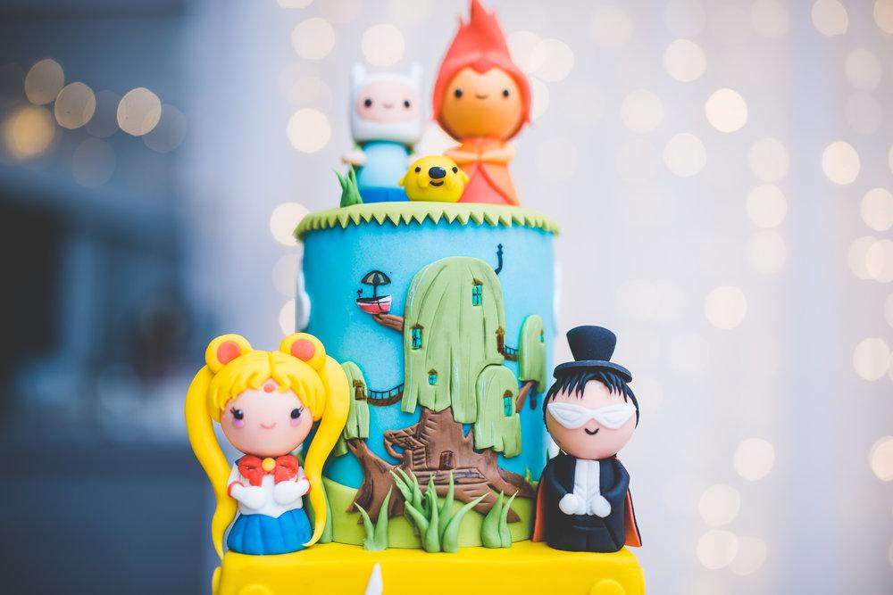 the retro game themed cake