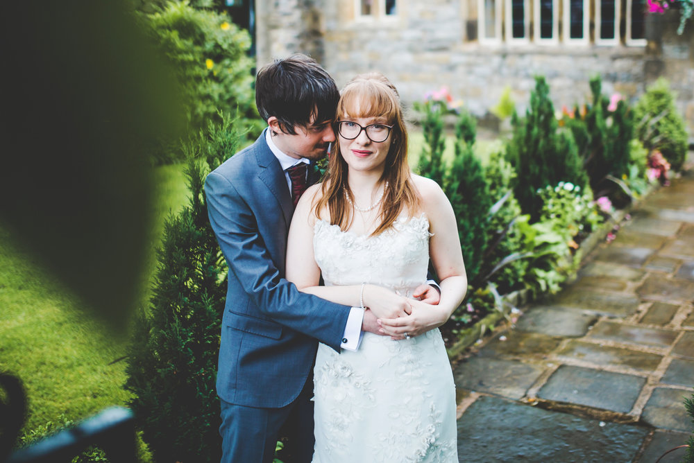 Smiles from the bride and groom outside the Stirk House Hotel- Vintage themed wedding, lancashire